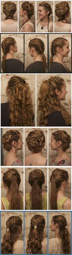 Video tutorials for hairstyles inspired by Game of Thrones, Vikings, OUAT, The Hunger Games, and more! My new hero. #hair #braids #cosplay