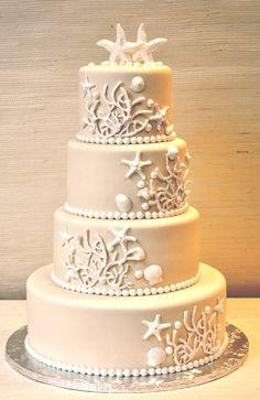 Inspiring and beautiful beach wedding cake. Ivory and White - Beach Wedding Cake- The Cake Zone Pretty Cakes, Beautiful Cakes, Amazing Cakes, Beautiful Beach, Simply Beautiful, Cupcakes Decorados, Beach Cakes, Nautical Wedding, Wedding White