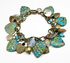 PATINA.......................................Turquiose Patina Heart Bracelet polymer clay by BeadazzleMe, $33.00
