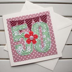 Your place to buy and sell all things handmade 60th Birthday Cards, Special Birthday, Handmade Birthday Cards, Birthday Ideas, Handmade Greetings, Greeting Cards Handmade, Free Machine Embroidery, Hand Embroidery, Card Machine