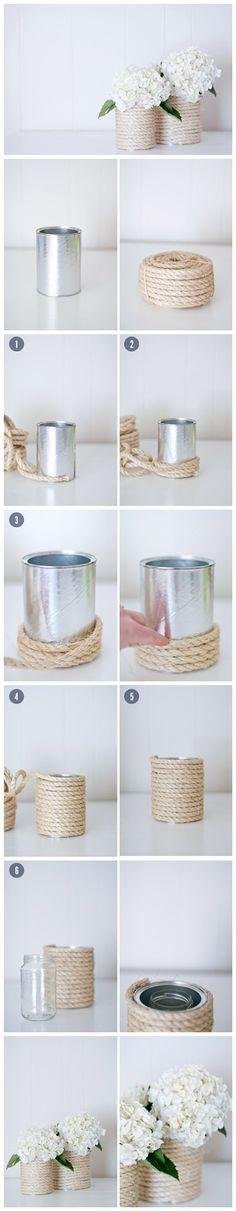 【废物利用小花瓶】一个废旧玻璃罐,一捆绳子,绕一绕粘一粘,就是这么简单!