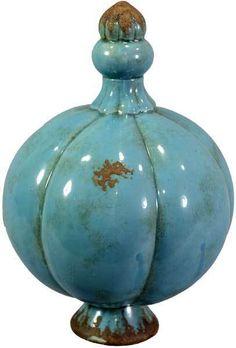 Rosenkugel Keramik blau Durchmesser 16 cm Gartenkugel zum Stellen Gartendeko