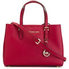 Michael Michael Kors Jet Set Travel Medium Shopping Bag ($290) ❤ liked on Polyvore featuring bags, handbags, tote bags, red, red leather handbag, genuine leather tote, travel tote, travel tote bags and leather shopper tote