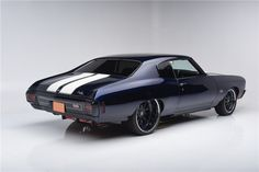 70 chevelle #BecauseSS midnight blue white and black asanti wheels tucked painted bumpers
