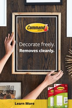 Command™ Picture Hanging Strips make it easy to decorate freely. Best of all, when you are ready to take down or move your pictures, they come off cleanly no nail holes or sticky residue. Picture Frame Hangers, Picture Wall, Closet Organization, Organizing, Hang Pictures, Workout To Lose Weight Fast, College Dorm Decorations, Frame Of Mind, Hobbies And Interests