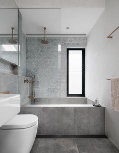 "Rethinking the Shower Niche (& Why I Think The Ledge Is ""Nex.- Emily Henderson Bathrooms Shower Niche Source by gunsnfroses - Modern Bathroom, Small Bathroom, Master Bathroom, Bathroom Showers, Bathroom Grey, Contemporary Bathrooms, Grey White Bathrooms, Minimalist Bathroom Design, Granite Bathroom"