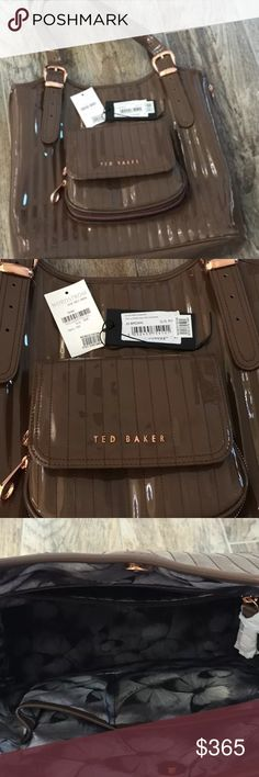 New Ted Baker Purse New with tags Ted Baker quilted patent leather brown purse. Cute shoulder bag. Still has tissue present. Sitting in my closet. Ted Baker Bags Shoulder Bags