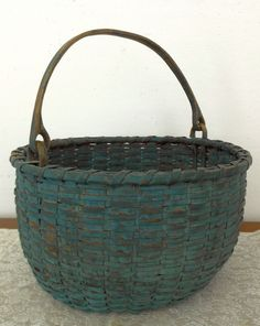 Early American Woven Splint Basket Painted Blue Green C 1800's Swing Handle |