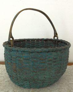 Early American Woven Splint Basket Painted Blue Green C 1800's Swing Handle |