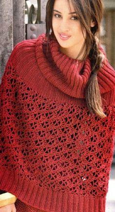 Пончо-пуловер с узорами из кос. Вязаный спицами