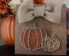 Twine Pumpkin String Art Halloween Thanksgiving Burlap Bow by SimpleFoxDesigns on Etsy https://www.etsy.com/ca/listing/251445578/twine-pumpkin-string-art-halloween