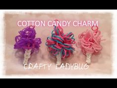 Rainbow Loom COTTON CANDY EASY Charm Tutorial by Crafty Ladybug.