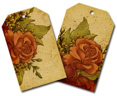 Two digital downloads of rose flower tags that you can print and use or use digitally for scrapbooking.
