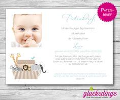 ♥ PATENBRIEF ♥ Arche zur Taufe I Azur von j-designerie - FEINE DRUCKSACHEN auf DaWanda.com