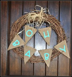 Cute, simple baby shower wreath with burlap. you could easily change your bunting for various occasions/seasons! Could use pink for girl. Burlap Baby Showers, Baby Shower Camo, Simple Baby Shower, Shabby Chic Baby Shower, Baby Boy Shower, Baby Shower Gifts, Diaper Shower, Baby Party, Baby Shower Parties