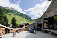 Gorgeous view from the patio of this 'house in a hill'  http://outdoormind.de/2012/05/15/villa-vals/