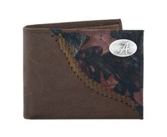 NCAA Alabama Crimson Tide Camo Leather Bifold Concho Wallet, One Size by ZEP-PRO. $32.95. Carry your Alabama Crimson Tide school spirit and your enthusiasm for the outdoors with you at all times. This light brown genuine crazyhorse soft leather bifold passcase wallet is accented with a fence row camouflage pattern and decorated with a silver gun metal concho and features two money compartments, a removable ID window, three card slots, photo sleeve insert and spare key holder...