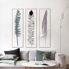3 Panel Long Feather Unframed Modern Wall Canvas