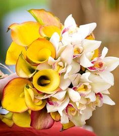 Yellow calla lily and orchid bouquet. It could work with purple orchid too and some more greens and white.