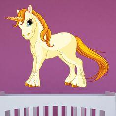 Vinilo infantil Unicornio amarillo | TeleAdhesivo.com