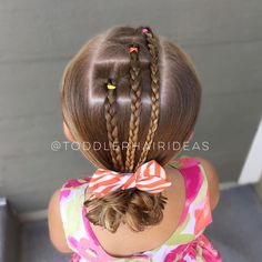 """28 Likes, 2 Comments - Cami Toddler Hair Ideas (@toddlerhairideas) on Instagram: """"3 diagonal topsy tails with braids down to a low messy bun! All of my favorite products (used on…"""""""