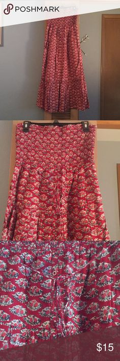 Red Flowering Print Maxi Dress! Dark Red Flowery Strapless Maxi Dress. Super comfy. Like new Condition. Small button detail on front as seen in picture. American Eagle Outfitters Dresses Maxi