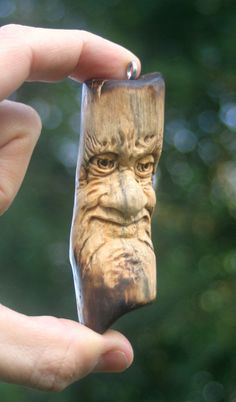 Hand Carved Wood Spirit One of a kind hobbit, gnome Florida grown Pine The carving is 3 1/2 tall x 1 1/8 from its widest points It is lightweight,