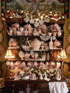 Nancy's Daily Dish: Christmas Hutch of Red Transferware and Book Winner Christmas Tea, Vintage Christmas, Christmas Houses, Victorian Christmas, Country Christmas, White Christmas, Vintage Dishes, Vintage China, China Display