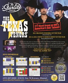 The official 2013 performance calendar of The Texas Tenors at The Starlite Theatre in Branson, MO