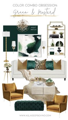 Color Combo Obsessed I Designing a Glam Room With Dark Green, Mustard and Gold Accents living room decor Color Combo Obsession: Designing With Green and Mustard Glam Living Room, Living Room Green, Glam Room, Green Living Room Furniture, Living Room With Color, Living Room Decor Colors, Gold Living Rooms, Dining Living Room Combo, Room And Board Living Room