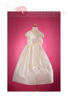 Best Sale A-Line V-neck Tea-length Flower Girl Dress