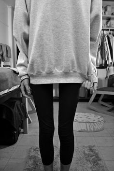 Lazy outfit-it would be cute with some studded combat boots those leggings and then maybe the same style of sweatshirt but like a neon color!