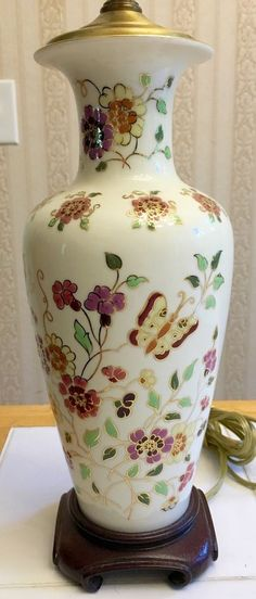 VINTAGE HAND PAINTED CERAMIC ASIAN LAMP BUTTERFLY FLORAL GINGER JAR BASE