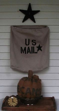 Mail bag made from a drop cloth.  Adorable for a front porch!