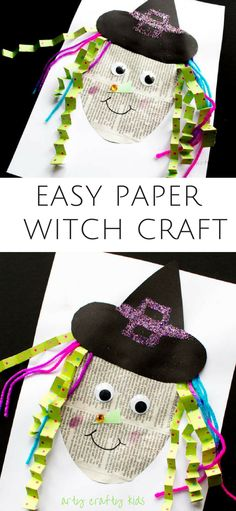 Easy Paper Witch Craft Arty Crafty Kids Art Halloween Crafts For Kids Easy Paper Witch Craft Easy Mixed Media Witch Project For Preschoolers And Young Children Halloween Art Projects, Halloween Arts And Crafts, Easy Arts And Crafts, Halloween Activities, Halloween Crafts For Preschoolers, Toddler Crafts, Preschool Crafts, Kids Crafts, Kids Diy