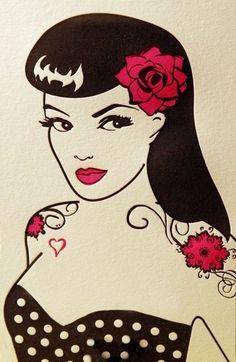 Rockabilly Pin Up Girl tattoo art flash idea - Artist unknown. Pinup Art, Pin Up Rockabilly, Rockabilly Fashion, Rockabilly Artwork, Gravure Illustration, Illustration Art, Pin Up Negras, Pop Art Vector, Pin Up Tattoos