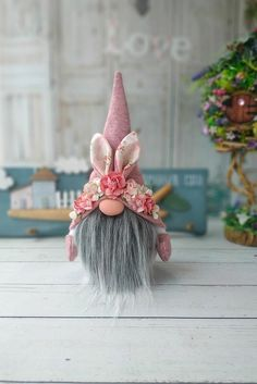 Gnome Ornaments, Christmas Ornaments, Scandinavian Gnomes, Easter Traditions, Cute Home Decor, Tray Decor, Handmade Flowers, Pink Flowers, Doll Clothes