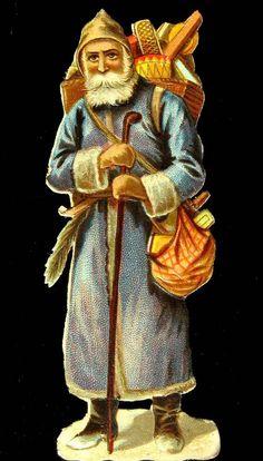 Alte Oblaten Glanzbilder,scraps: Weihnachten: Weihnachtsmann, um 1900 10 cm hoch