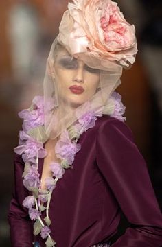 ☫ A Veiled Tale ☫ wedding, artistic and couture veil inspiration - John Galliano for Christian Dior