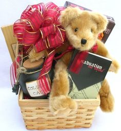 """The Graduate, Graduation Gift Basket! - Say """"Congrats!"""" in a big way with this great gift basket which features a handy """"College Cash"""" Stoneware Jar, a great book, """"Graduation and Beyond"""" filled with humorous quotes & inspirational messages. Ways To Say Congratulations, Congratulations Graduate, Graduation Presents, Graduation Gifts, Graduation Ideas, Diy Gift Baskets, Chocolate Gifts, Unique Gifts, Diy Crafts"""