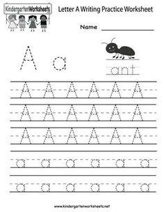Kindergarten Letter A Writing Practice Worksheet Printable: