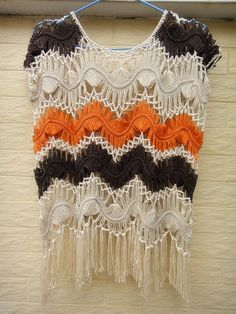 """Crochet Fringe Tank Top Hippie Summer Swimsuit Cover Up Beach Clothing  Ideal for layering and creating a hippie, indie/ boho chic look, go perfectly with dress, vest, shirt or even jeans beach dress made with acrylic yarn. measured 21"""" in length and 26"""" with tassel."""