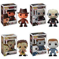 Amazon.com: Funko HORROR 3.75 4 PC VINYL FIGURE SET - Michael Myers - Jason Vorhees - Freddy Krueger - Leatherface: Toys & Games