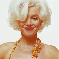 Marilyn Monroe. The June 1962 3-day Bert Stern shoot (2,500 photos) for Vogue magazine, six weeks before her death at age 36. For one brief moment, the Marilyn mask slips off before the camera & you catch a glimpse of the real woman.