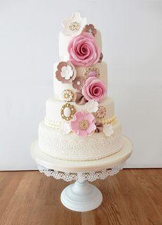 Wedding Cakes - The Cakery Leamington #vintage #wedding #cake #floral #pink #roses #inspiration   www.thecakeryleamington.co.uk