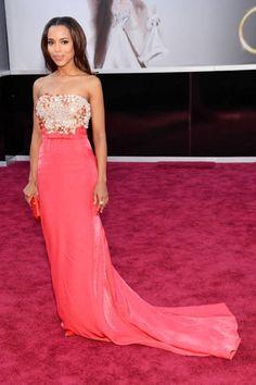 Kerry Washington in colourful Miu Miu dress with sparkling Swarovski crystal on The Oscars 2013 red carpet