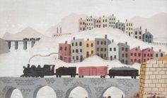 Ralph McGuire. Train Passing City, acrylic