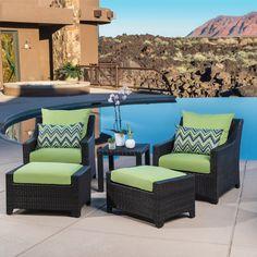 Outdoor RST Brands Deco 5 Piece Club Chair and Ottoman Set - OP-PECLB5-GNK-K