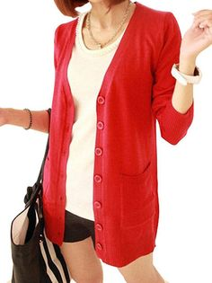 Comfortable Oversize V-Neck Knited Pure Color Long Sleeve Cardigan on buytrends.com