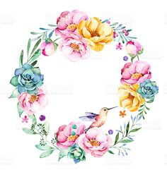 Colorful floral wreath with roses,flowers,leaves,succulent plant royalty-free stock vector art